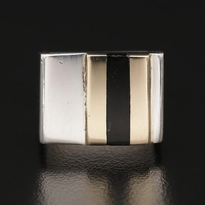 Suzanne St. Clair Sterling Black Onyx Ring with 14K Accents