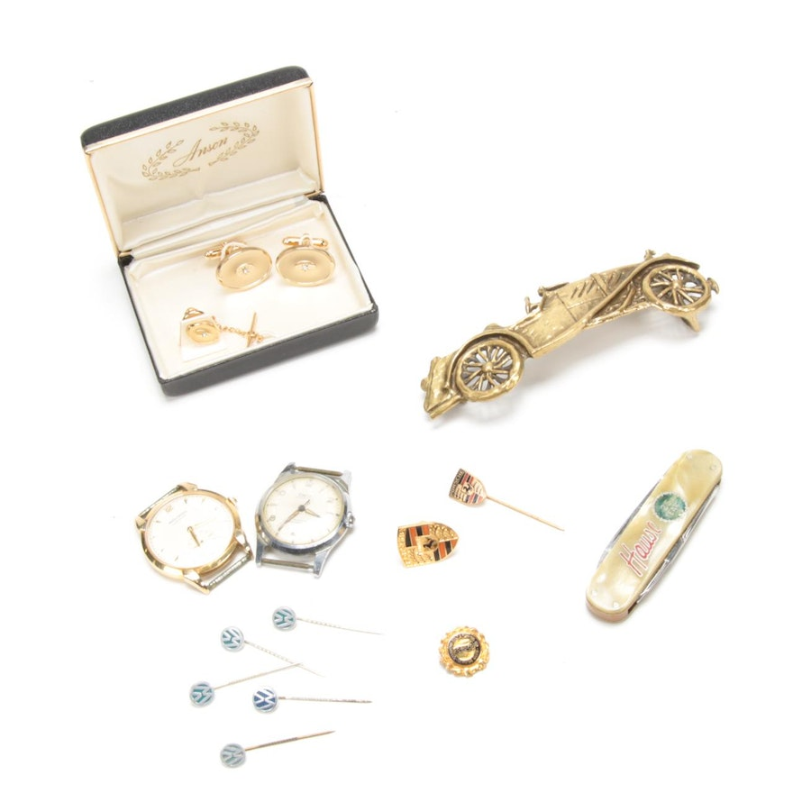 Men's Movado and Titanic Watch Faces, VW Pins and Other Jewelry, Vintage