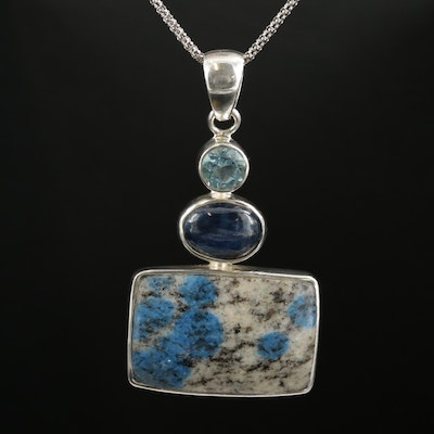 Sterling K2 Granite, Kyanite and Blue Topaz Pendant on Popcorn Chain Necklace
