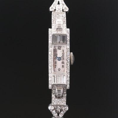 Vintage Blancpain Platinum and 14K Gold 2.04 CTW Diamond Stem Wind Wristwatch
