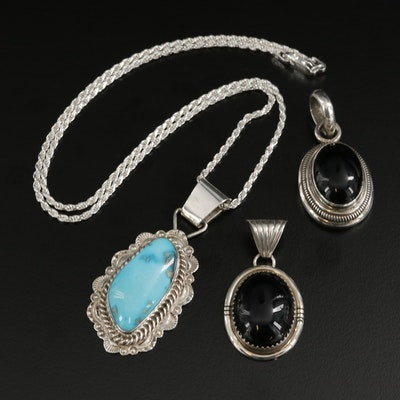 Signed Sterling Silver Turquoise and Black Onyx Pendants with French Rope Chain