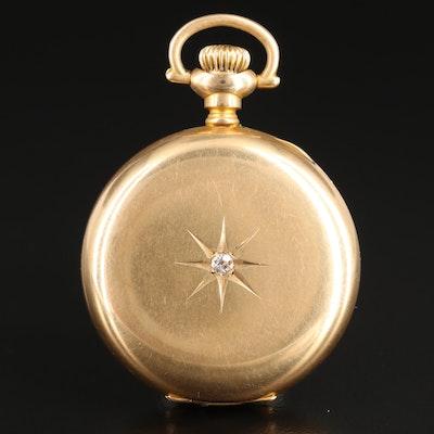 Illinois 14K Gold and Diamond Hunter Case Pocket Watch, 1907