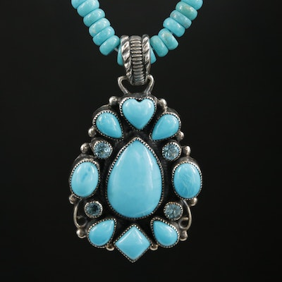Leo Feeney Sterling Silver Turquoise and Blue Topaz Beaded Necklace