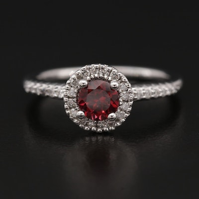 14K Garnet Ring with Diamond Lined Shoulders and Halo