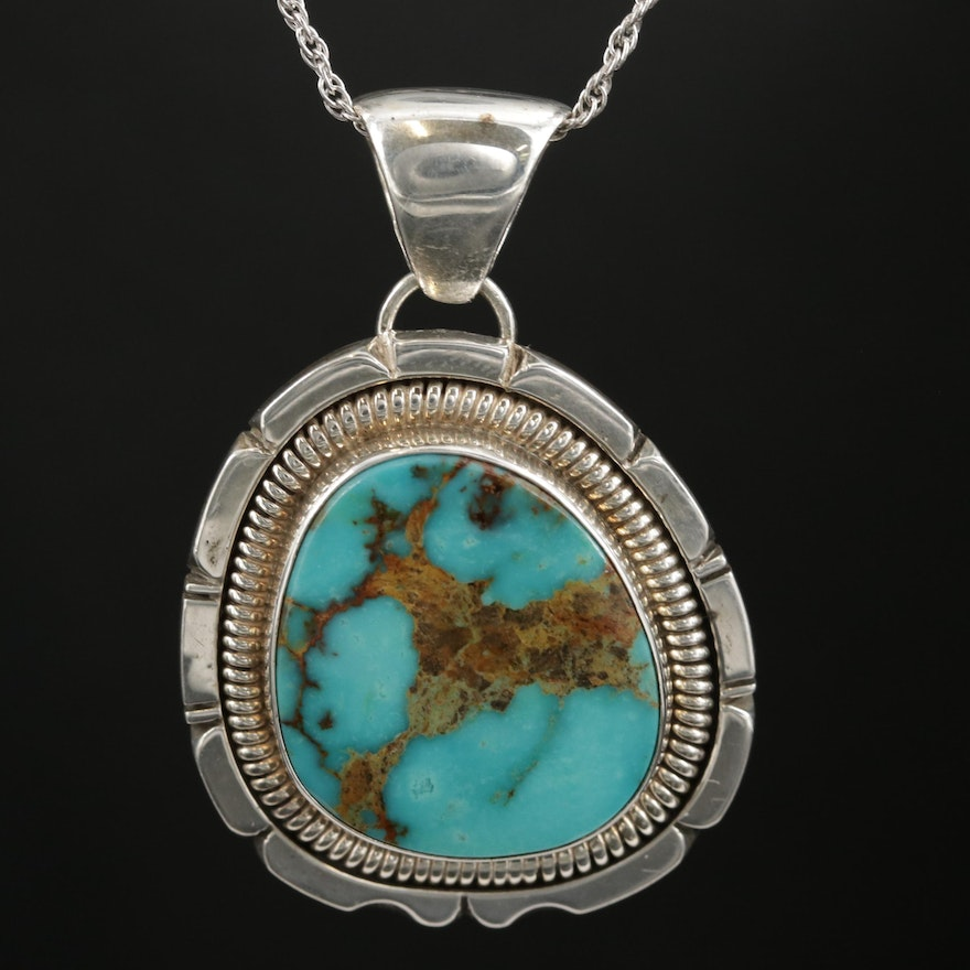 Wydell Billie Navajo Diné Sterling Turquoise Pendant On French Rope Chain Choker
