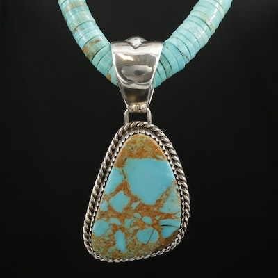 Randall Joe Tom Navajo Diné Turquoise Pendant and Beaded Necklace