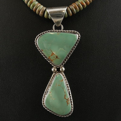 Southwestern Sterling Silver Turquoise Pendant on Graduated Beaded Necklace