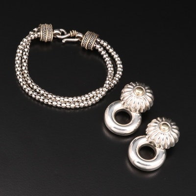 Sterling Silver Bead Bracelet and Hollow Form Earrings with 14K and 18K Accents