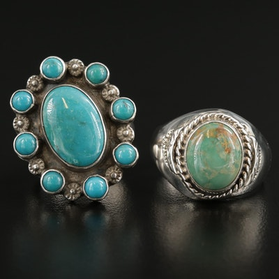 Signed Southwestern Sterling Turquoise Rings