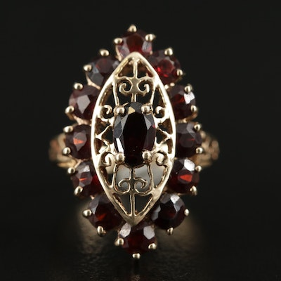 10K Yellow Gold Garnet Scrollwork Ring