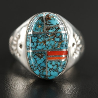 Signed Southwestern Sterling Silver Turquoise and Coral Inlaid Ring