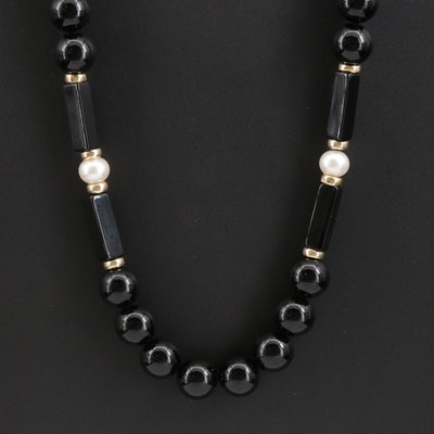 Black Onyx Beaded Necklace with Pearl and 14K Yellow Gold Accents