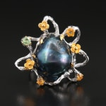 Sterling Floral Ring Including Fancy Sapphire and Pearl