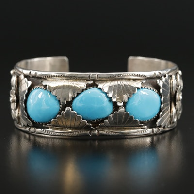 Signed Sterling Silver Turquoise Cuff Bracelet
