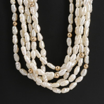 Multi Strand Baroque Pearl Necklace