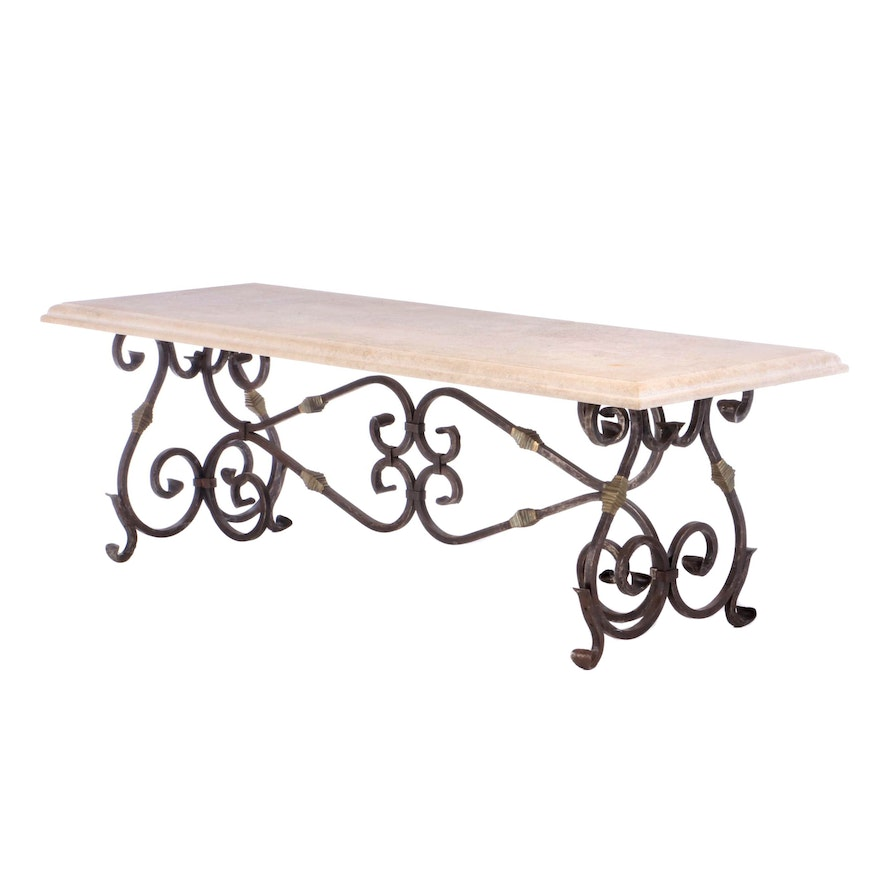 Baroque Style Brass-Mounted Wrought Iron and Composite Top Dining Table