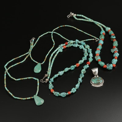 Signed Sterling Silver Turquoise and Coral Beaded Necklace and Pendant