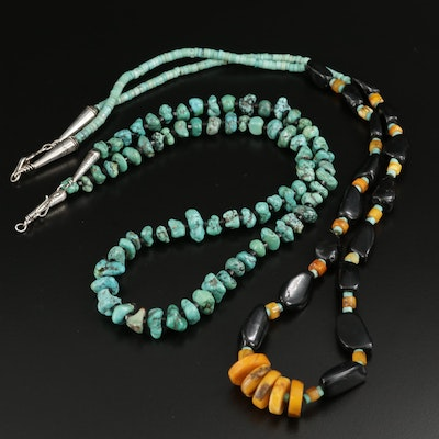Sterling Silver Turquoise and Amber Graduated Necklaces