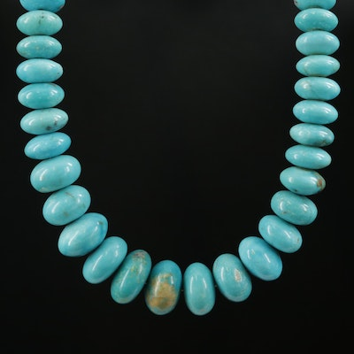 Graduated Turquoise Necklace with Sterling Silver Clasp