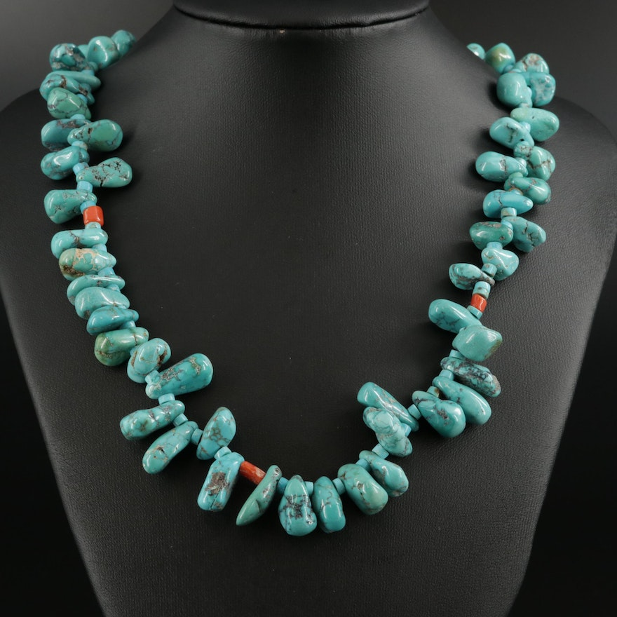 Sterling Silver Turquoise and Coral Beaded Necklace