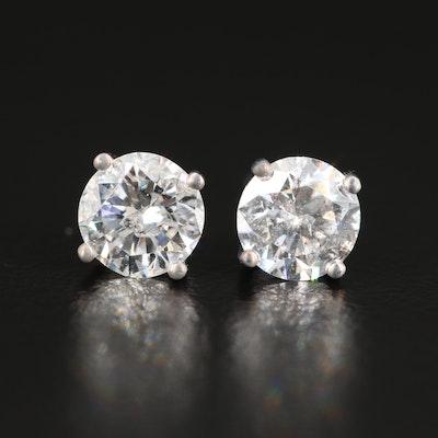 14K White Gold 1.20 CTW Diamond Solitaire Studs
