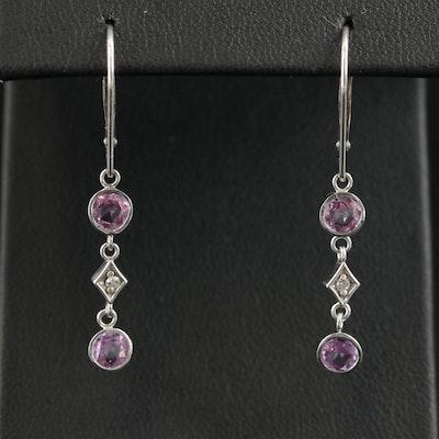 14K White Gold Pink Sapphire and Diamond Dangle Earrings