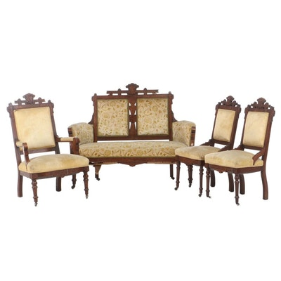 Victorian Eastlake Mahogany Upholstered Settee and Chairs, Late 19th Century