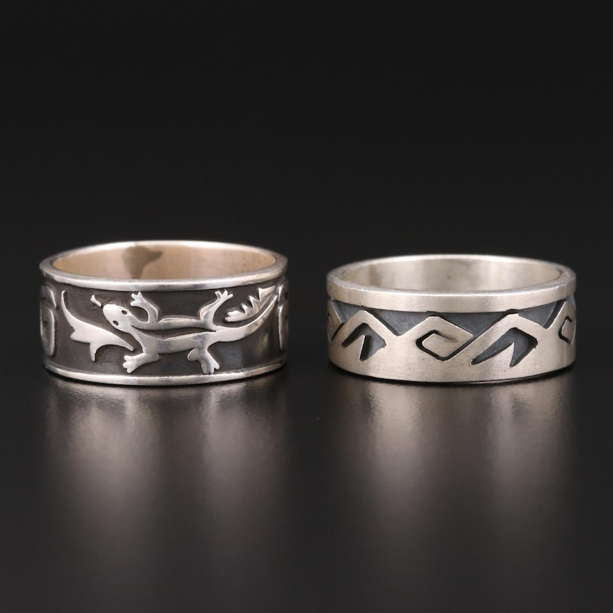 Mexican Sterling Silver Niello Rings