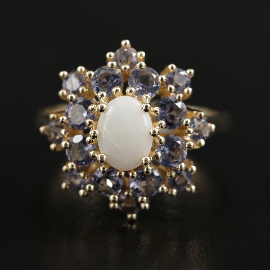 14K Yellow Gold Opal and Tanzanite Ring