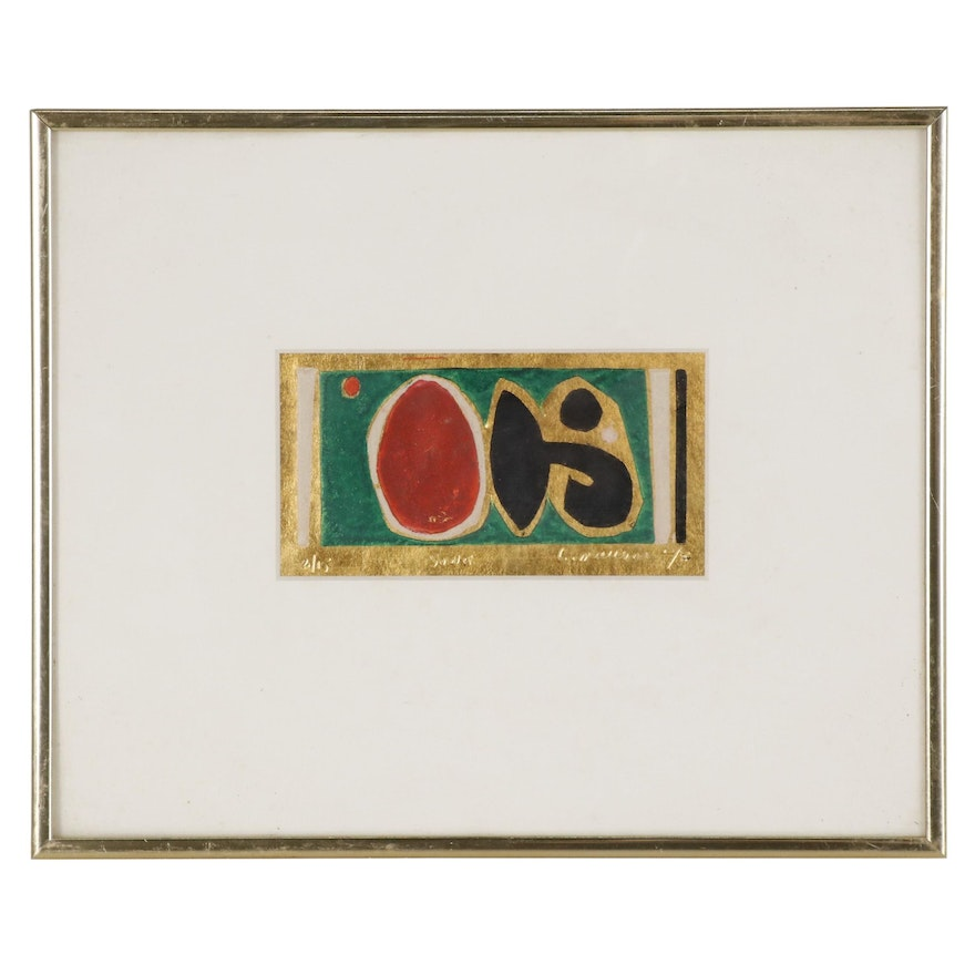 """Leonard Maurer Relief Print with Gold Leaf """"Song"""", Mid-20th Century"""