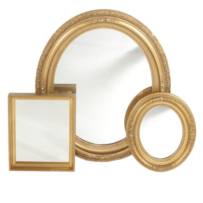 Gold Tone Wall Mirrors, Group of Three