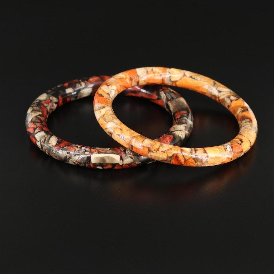 Chip Coral in Resin Bangle Bracelets