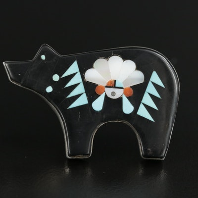 Signed Zuni Sterling Silver Inlay Bear Converter Brooch