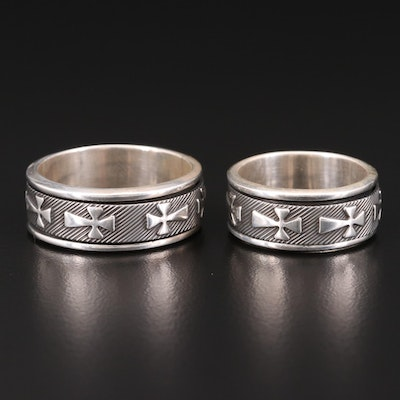 Sterling Silver Spinner Rings with Repeating Cross Motif