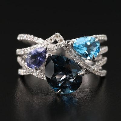 EFFY 14K Gold Blue Topaz, Iolite, and Diamond Ring