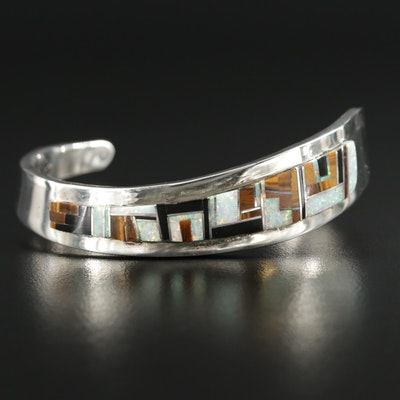 Signed Sterling Synthetic Opal, Tiger's Eye and Black Onyx Inlay Cuff