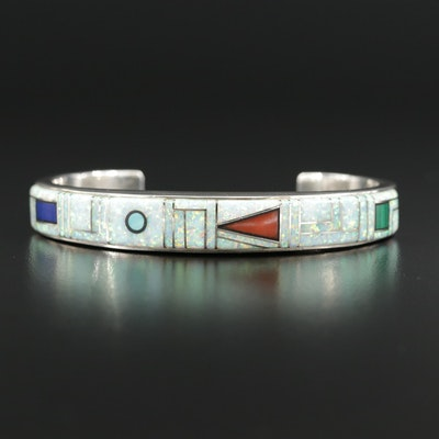 Southwestern E. Benally Sterling Synthetic Opal, Coral and Lapis Lazuli Cuff