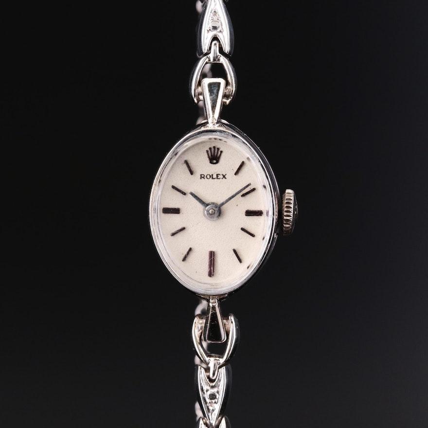 14K White Gold Rolex Stem Wind Wristwatch