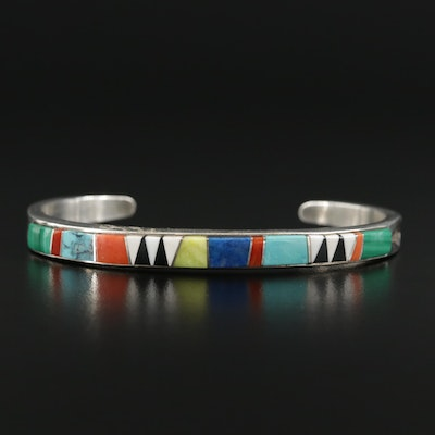 Cecelia Lincoln for B.G. Mudd Sterling Turquoise, Coral and Malachite Inlay Cuff