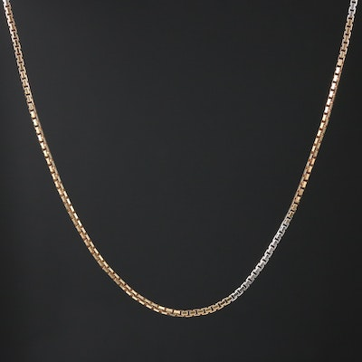 14K White and Yellow Gold Box Link Chain