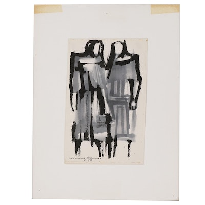Leonard Maurer Figural Ink Wash Painting, 1958