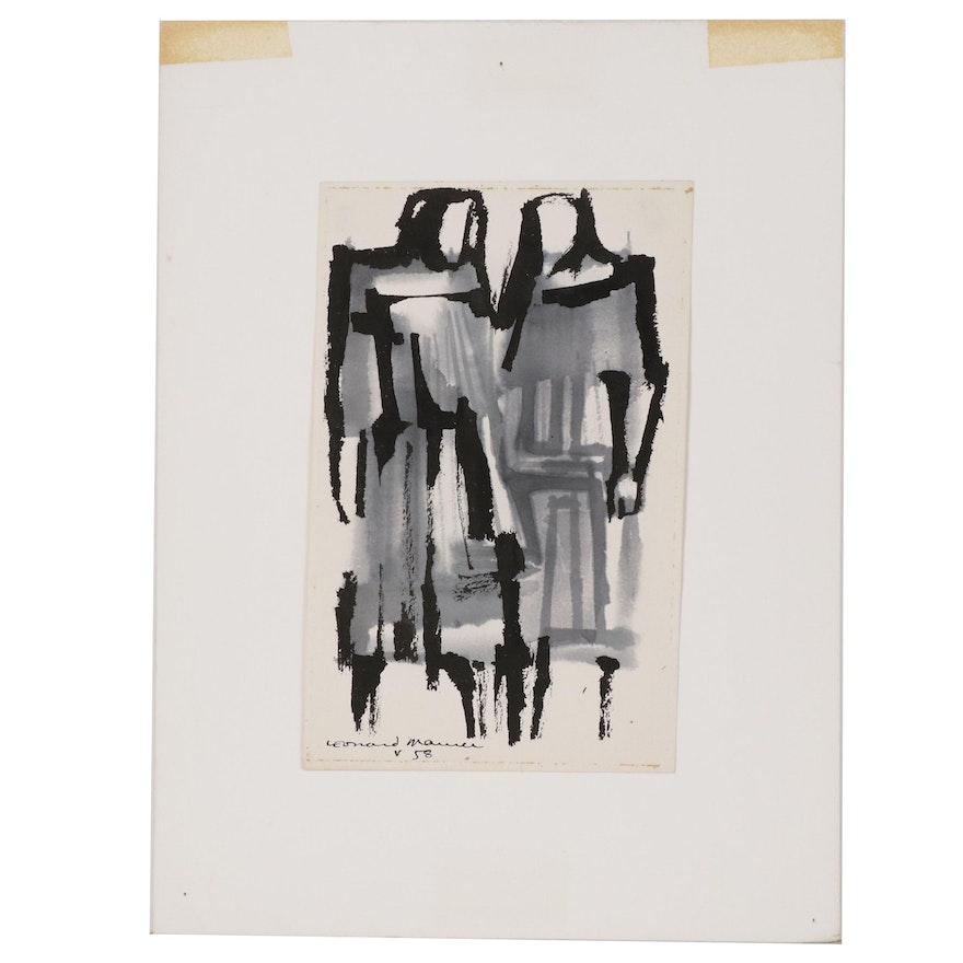 Leonard Maurer Figural Ink Wash Painting, 1958
