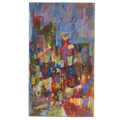 "Leonard Maurer Abstract Acrylic Painting ""Cityscape"""
