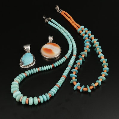 Southwestern T. Wilson Sterling Turquoise, Coral and Druzy Agate Beaded Jewelry