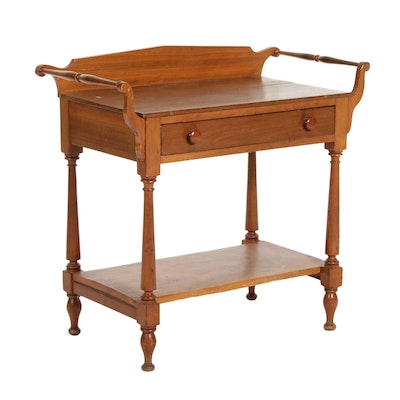 American Primitive Poplar Two-Tier Washstand, 19th Century