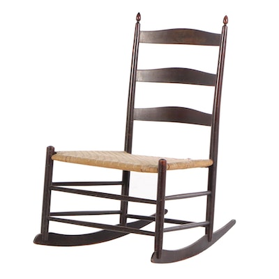 Shaker's #4 Ladderback Rocker in Dark Red Wash, Late 19th Century