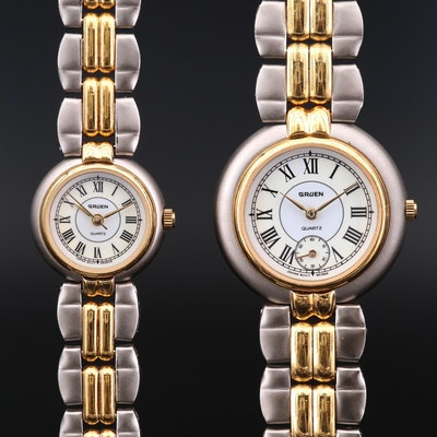 Pair of Gruen Two Tone Quartz Wristwatches