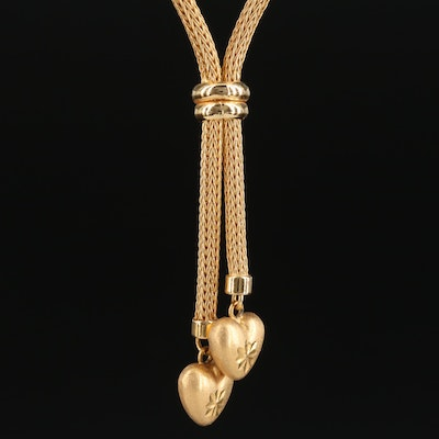 18K Gold Chain Necklace with Heart Charms