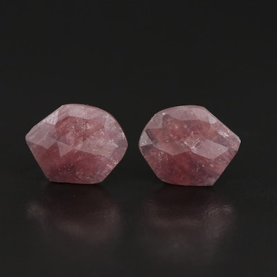 Loose 12.72 Free Form Rose Faceted Corundum