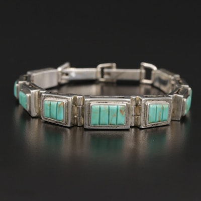 Sterling Graduated Turquoise Bracelet